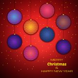 Merry Christmas and Happy New Year red background. With colorful christmas balls. Vector background for your greeting cards, invitations, festive posters stock illustration
