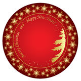 Merry christmas and happy new year - red vector background Stock Photos