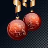 Merry Christmas and Happy New Year red balls with gold ribbons. Vector illustration. Royalty Free Stock Photography