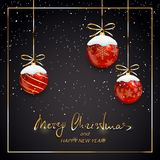 Merry Christmas and Happy New Year with red balls and snow on bl. Red Christmas balls with snow on black holiday background. Golden lettering Merry Christmas and Royalty Free Stock Photos