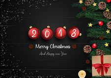Merry christmas and happy new year 2018 with red christmas balls and christmas decoration. Illustration of Merry christmas and happy new year 2018 with red stock illustration