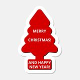 Merry Christmas and Happy New Year, red Christmas tree sticker Stock Photography