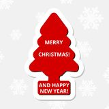 Merry Christmas and Happy New Year, red Christmas tree. Vector icon Stock Photography
