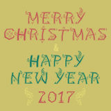 Merry Christmas and Happy New Year 2017. Red and green artistic font with floral decor. Vintage greeting card. Vector Illustration. EPS 8 Royalty Free Stock Photo