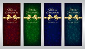 Merry Christmas and Happy New Year red green blue set of vertical vector banners dark background with golden ribbon