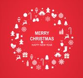 Merry Christmas and Happy New Year red greeting card with white festive decorations in form of circle stock illustration