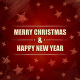 Merry Christmas and Happy New Year, red retro background with st Stock Photos
