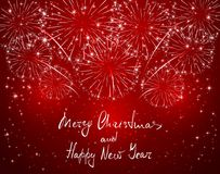 Merry Christmas and Happy New Year with red sparkle firework. Lettering Merry Christmas and Happy New Year with sparkling fireworks on red shiny background Royalty Free Stock Photography