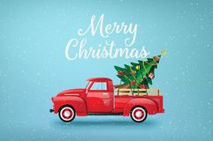 Merry Christmas and Happy New Year with red truck vector illustration