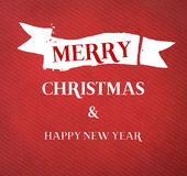 Merry Christmas and happy new year on red vintage paper. Royalty Free Stock Photo