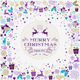 Merry christmas happy new year reindeer label card. Merry christmas happy new year design with vintage reindeer label and holiday elements. Ideal for xmas stock illustration