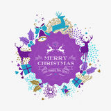 Merry christmas happy new year reindeer label card Stock Photos