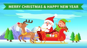 Merry Christmas and Reindeer Vector Illustration. Merry Christmas and happy New Year, reindeer and sled full of presents, Santa Claus and elf sitting on it Stock Image