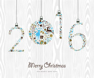 Merry Christmas Happy new year 2016 retro ornament. Merry Christmas and Happy New Year 2016 vintage xmas ornaments, hipster wood background. Ideal for holiday Royalty Free Stock Image