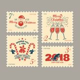 Merry Christmas and Happy New Year 2018 retro postage stamp with Santa Claus,. Christmas tree, gifts and reindeer. Vector illustration Royalty Free Stock Images