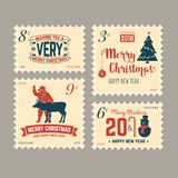 Merry Christmas and Happy New Year 2018 retro postage stamp with Santa Claus,. Christmas tree, gifts and reindeer. Vector illustration Stock Photo