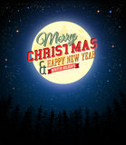 Merry Christmas and Happy New Year retro poster. Full moon shines over pine forest. Vector illustration royalty free illustration