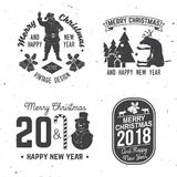 Merry Christmas and Happy New Year 2018 retro template with Santa Claus Royalty Free Stock Photography