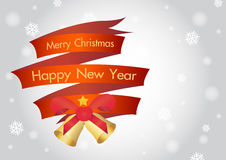 Merry christmas and happy new year ribbin with snow and light bokeh background Stock Image