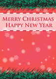 Merry christmas and happy new year ribbin with snow light bokeh background Stock Photography