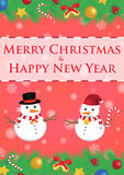 Merry christmas and happy new year ribbin with snowman and snow light bokeh background Royalty Free Stock Photo