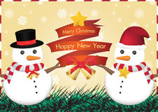 Merry christmas and happy new year ribbin with snowman and snow light bokeh background Royalty Free Stock Photos