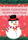 Merry christmas and happy new year ribbin with snowman and snow light bokeh background Stock Photos