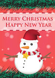 Merry christmas and happy new year ribbin with snowman and snow light bokeh background Stock Photography
