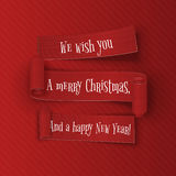 Merry Christmas and happy New Year Ribbons Set Stock Photos
