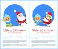 Merry Christmas Ride and Game Vector Illustration. Merry Christmas and happy New Year, ride on sleds by Snow Maiden and game called blind mans buff with Santa Stock Photography