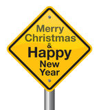 Merry Christmas and Happy New Year road sign. Welcome 2017 stock illustration