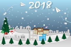Merry Christmas & Happy new year of rocket paper for 2018. On the sky coming to City Landscape with snowman on the street, paper art vector and illustration vector illustration