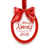Merry Christmas and Happy New Year 2018 round banner with red ribbon and bow, on white background. Christmas tree decoration. Greeting card template. Vector Royalty Free Stock Images