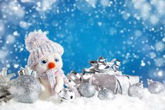 Merry Christmas and Happy New Year. A New Year`s background with New Year decorations, Stock Image