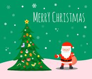 Merry Christmas and Happy new year. Santa Claus and Christmas trees adorn the decorations under the snowflakes. Santa Claus and Christmas trees stock illustration