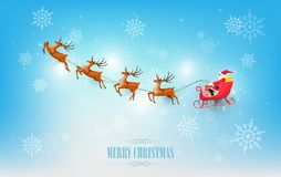 Merry Christmas and Happy New Year, Santa Claus drives sleigh with reindeer on snowflake, flat cartoon style, vector illustration. Eps10 Royalty Free Stock Photos