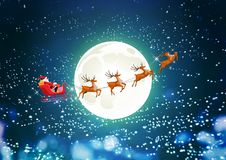 Merry Christmas and Happy New Year, Santa Claus drives sleigh with reindeer on the starry sky, flat cartoon style, vector Royalty Free Stock Photo