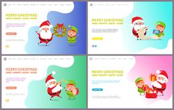 Merry Christmas Greeting Card Santa Claus and Elf royalty free illustration