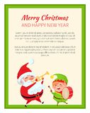 Merry Christmas Happy New Year Santa Claus and Elf. Set of two poster on white background. Vector illustration with Santa and his friend in green frame Stock Photos