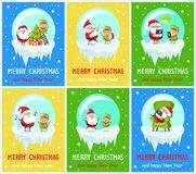 Merry Christmas, New Year Vector Illustration. Merry Christmas and happy New Year, Santa Claus and elf singing and jumping, decorating evergreen tree, looking at stock illustration