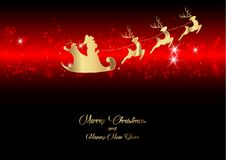 Merry Christmas and a Happy New Year, Santa Claus of gold with a reindeer flying, greeting card with Snowflakes.  Stock Photo