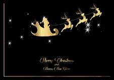 Merry Christmas and a Happy New Year, Santa Claus of gold with a reindeer flying, greeting card with Snowflakes. Merry Christmas and a Happy New Year, Santa Stock Photography