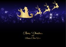 Merry Christmas and a Happy New Year, Santa Claus of gold with a reindeer flying, greeting card with Snowflakes Royalty Free Stock Photos