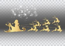 Merry Christmas and a Happy New Year, Santa Claus of gold with a reindeer flying, greeting card with stars,.  Stock Photo