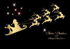 Merry Christmas and a Happy New Year, Santa Claus of gold with a reindeer flying, greeting card with Snowflakes. Merry Christmas and a Happy New Year, Santa Royalty Free Stock Photos