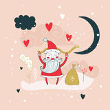 Merry Christmas Happy New Year Santa Claus greeting card background Royalty Free Stock Images