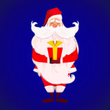 Merry Christmas Happy New Year.. Santa Claus with long beard and cute moustache in red. Papa Noel present red gift with gold ribbon  over blue. Presents on Stock Photos