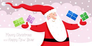 Merry Christmas and Happy New Year - Santa Claus and Christmas presents Stock Photo