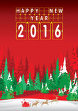 Merry Christmas and Happy New Year 2016. Santa Claus and reindeer. The Christmas tree and snow on red background Royalty Free Stock Images