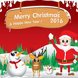 Merry Christmas and Happy New Year 2016. Santa Claus and reindeer. The white snow and Christmas accessories on red background. Royalty Free Stock Images